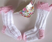 Toddler Socks: 'Princess' hand knit pink and white stretch cotton lacy pattern