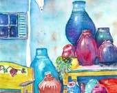 "DIGITAL DOWNLOAD watercolor print Mexican Southwest pots decorative garden pots blue red turquoise orange yellow ""Mexican Pots"""