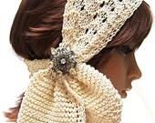 Three Option Scarf: 'Ivory Grace'  Headband Head Wrap Retro Bridal