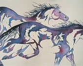 Watercolor Print Horses  'Runners'