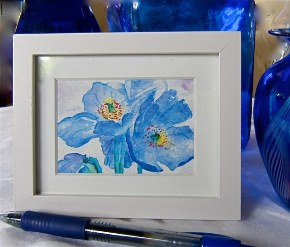 Watercolor ACEO: 'Himalayan Blue Poppies' framed  blue, white, yellow, mauve