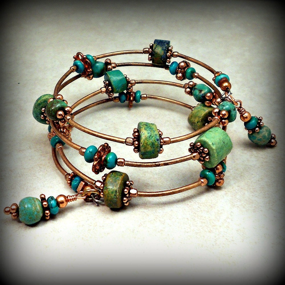 Wire Ring Beads: Memory Wire Wrap Bracelet With Copper And Turquoise Stone