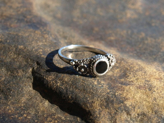 Vintage Black Onyx Ring Sterling Silver