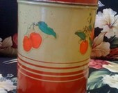 Cherries Jubilee - Small Vintage Kitchen Tin - Cherry Canister