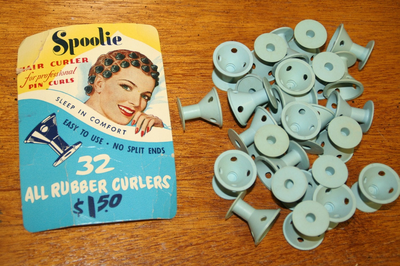 Vintage Rubber Curler Set 1940s Spoolie Pincurls