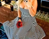Flirty Strapless Black and White Stripe Dress
