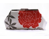 Red Peony Gray Leaves Clutch - OliverMichael