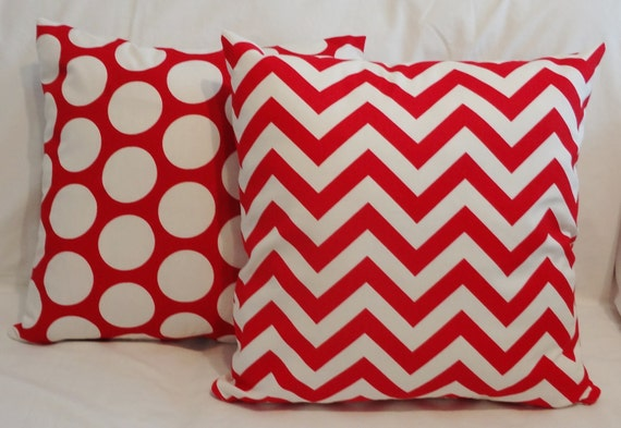 Two Pillow Covers Lipstick Red Zig Zag Chevron AND Dot Red & White Pillows 18x18
