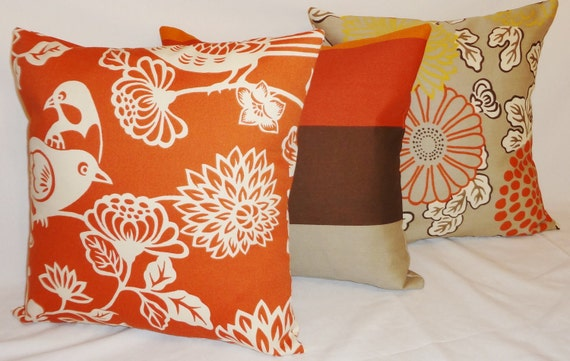 Outdoor Pillow Trio Orange Brown Bird Mum Stripe Pillow Cover