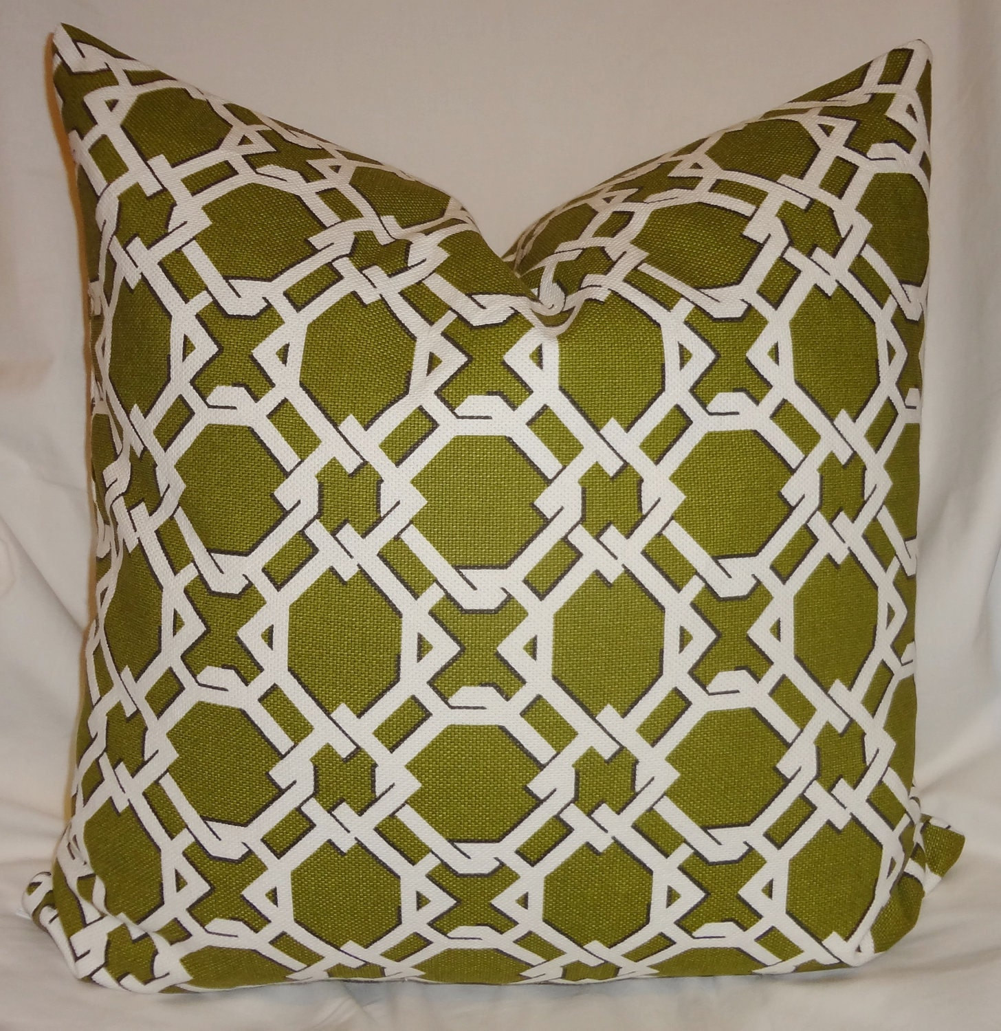 Olive Green Decorative Pillow : Decorative Pillow Olive Green/White Lattice by HomeLiving on Etsy