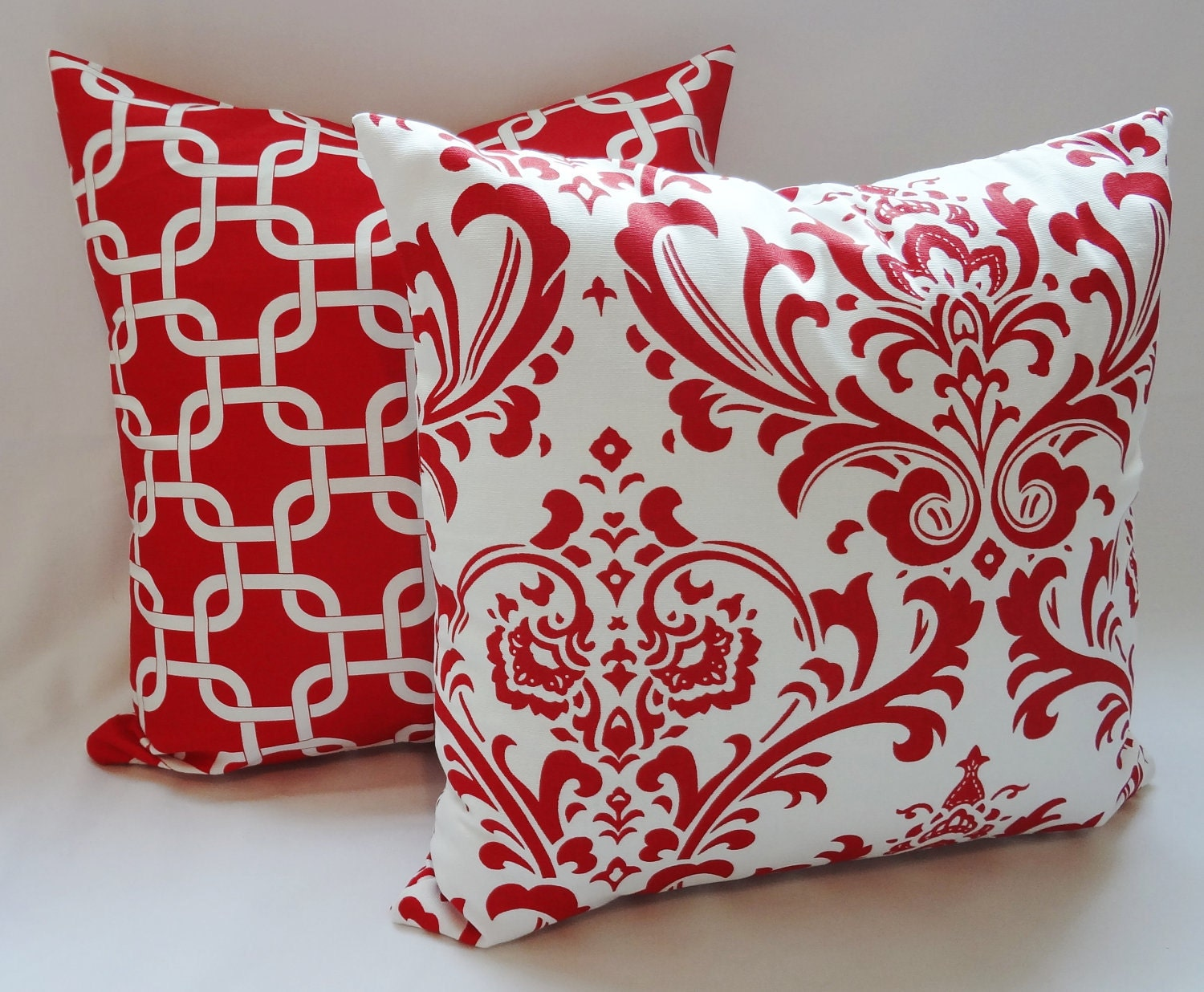 Items similar to Set of Two Red & White Pillow Covers Red Geometric Red Damask Throw Pillows ...