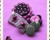 Spring Celebration polymer clay button set of 6