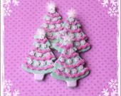 Pastel Trees polymer clay ornaments/embellishments/bow centers