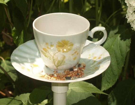 Yellow and White China Bird Feeder, Luminaries, Garden Yard  Art , Handmade