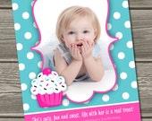 Cupcake Birthday Invitation (Digital File) - I Design, You Print - Non Photo Option Also Available