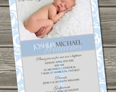 Baptism Invitation (Digital File) Christening - I Design, You Print