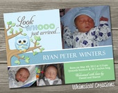 Owl Birth Announcement (Digital File) Look Whooo Arrived - I Design, You Print