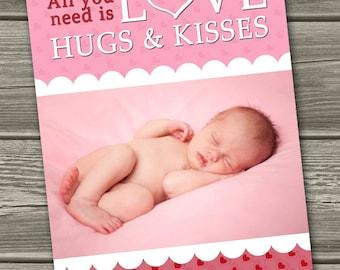 Valentines Photo Card, Valentine's Day Card - Love, Hugs & Kisses - (Digital File) - I Design, You Print