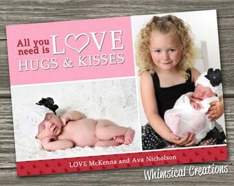 Photo Valentines Card, Valentine's Day Card - I Heart Love - (Digital File) - I Design, You Print
