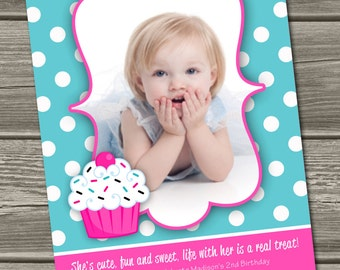 Cupcake Birthday Invitation (Digital File) - I Design, You Print - Non Photo Option Also Available