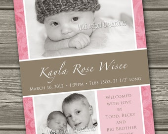 Baby Girl Birth Announcement (Digital File) Kayla - I Design, You Print