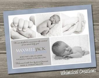 Baby Boy Birth Announcement (Digital File) Maxwell - I Design, You Print