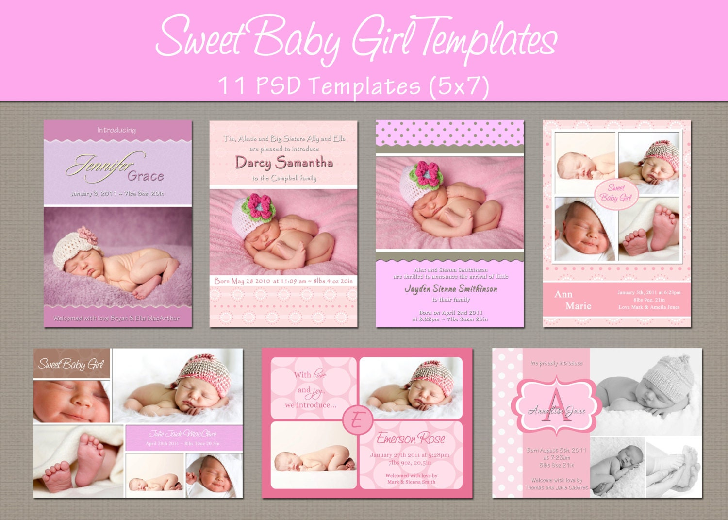 Instant Download Birth Announcement By Whimsicalcreationspc
