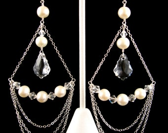 Ivory Freshwater Pearl Chandelier Sterling Silver Earrings with Swarovski Elements Baroque Crystal Pendants, Bridal Bridesmaid Jewelry