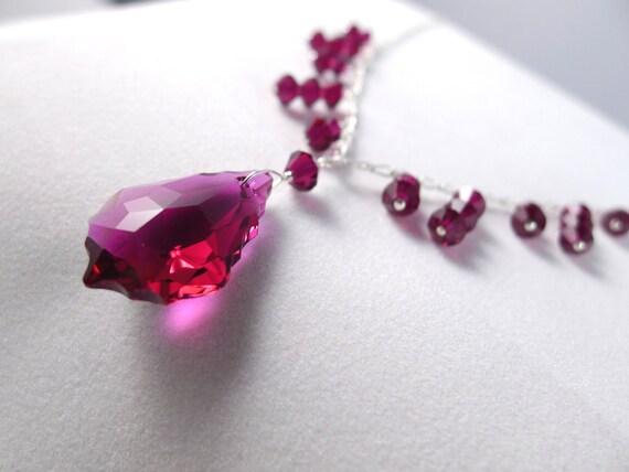 Ruby Swarovski Elements Silver Dangle Necklace, Red Crystal Baroque Pendant Princess Style, Bridal Bridesmaid Custom Jewelry