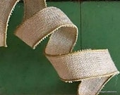"CLEARANCE!! Burlap Wired Ribbon 1 1/2"" Natural Jute - TWO YARDS - Offray #9 Rustic, Prim Craft Wire Edge Burlap Ribbon #209"