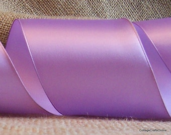 "Wired Edged, 2 1/2"" Lavender Purple Satin Ribbon - THREE  & 1/8 YARDS - Offray ""Contessa"" #60405 Light Orchid, Wedding Wire Edged Ribbon"