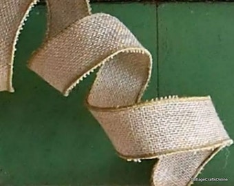 """CLEARANCE!! Burlap Wired Ribbon 1 1/2"""" Natural Jute - TWO YARDS - Offray #9 Rustic, Prim Craft Wire Edge Burlap Ribbon #209"""