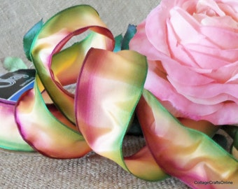"""Ombre Wired Ribbon, 1 1/2"""" wide, Sorbet Mauve Peach Green - THREE YARDS  - Offray """"Ombre Sorbet"""" Gradient Watercolor Craft Wire Edge Ribbon"""