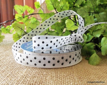 "CLEARANCE! Polka Dot Ribbon, 5/8"" Black on White Sheer Ribbon, Monofilament Edge, FIFTEEN YARDS, Offray ""Puntino""  #60480 Craft Ribbon,"