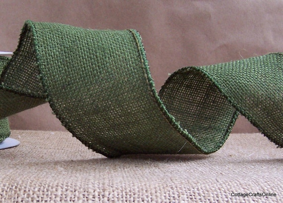 "Wired Ribbon, 2 1/2"" Burlap Moss Green Hunter - THREE YARDS - Offray Craft Ribbon Green, Fall, Thanksgiving, Christmas Wire Edge Ribbon"