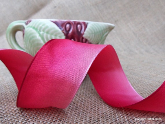 "Wired Ribbon 1 1/2"" Red Ombre, THREE YARDS, Deep Pink to Red - Offray  Red Wire Edge Ribbon"