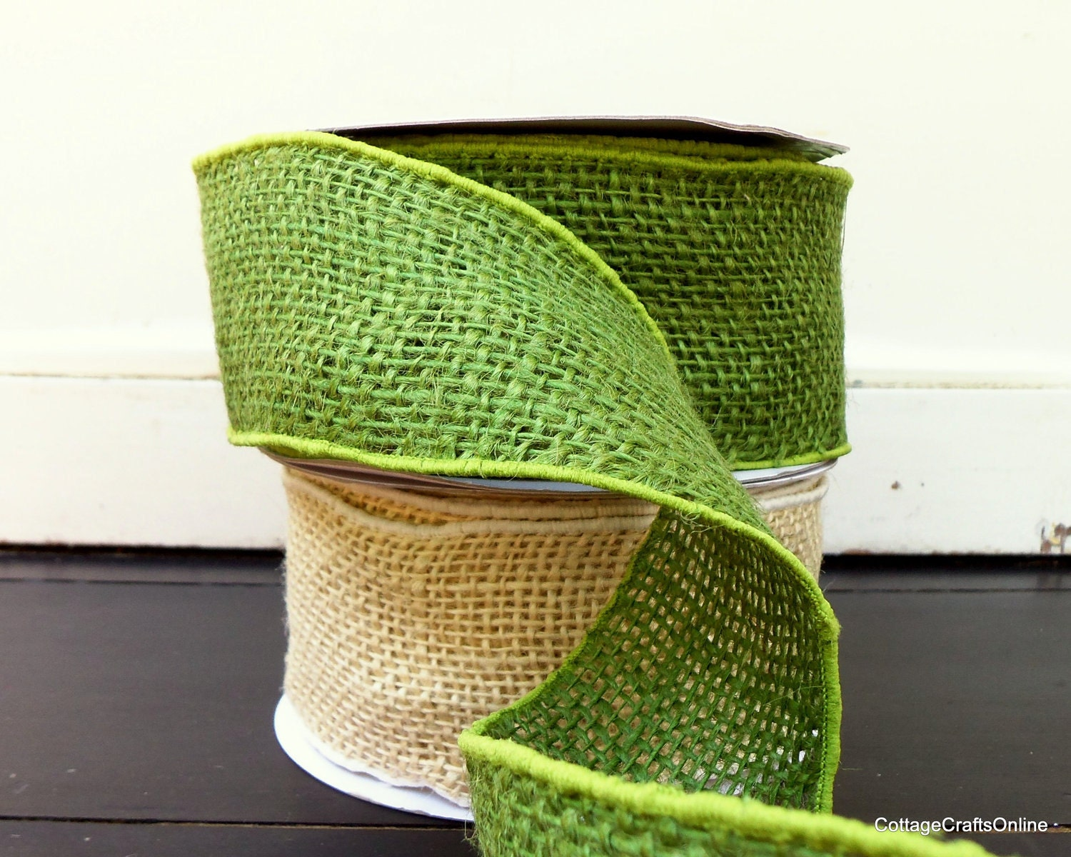 Sale burlap wired ribbon 2 1 2 green jute by for Green burlap ribbon