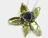 Green Freshwater Pearl Orchid Flower Necklace