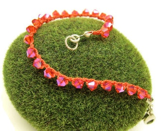 Crochet Bracelet - Hyacinth Crystal on Tangerine