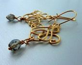 Art deco golden earrings