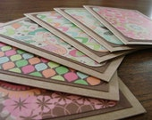 Set of 6 blank note cards - retro prints with a touch of glitter