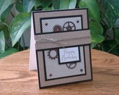 Handmade birthday card - steampunk feel with rope and gears