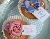 Delicious Cake Pins,  Vintage Tea Party Set of 12 Cupcake ribbon flower toppers, Personalised pink blue