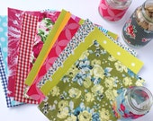 10xA5 Handmade self adhesive fabric sheets, upcycled remnant & salvaged vintage fabrics, brights florals ginghams stripes patterns polkadots