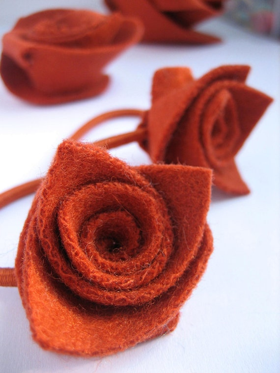 Small flower ponytail bands, set of 2 soft upcycled chunky wool felt Roses, autumn burnt orange rust copper russet