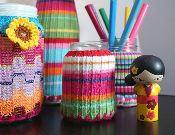 SET of 2 Upcycled Eco knit fairisle, cable jamjar/bottle cozy, winter brights turquoise cerise mustard jade teal red