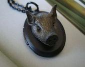 Gothic Locket, What A Boar, Original Unique Necklace Locket, Gift Box Delivered