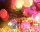 "Carrousel in Paris, France - Feminine, Girly Pink Carnival Bokeh 8x10"" Fine Art Photography Print on Endura Metallic Photo Paper"
