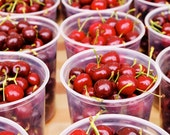 "Bright Red Market Cherries, Farmers' Market in Hollywood, CA - 8x12"" Fine Art Matte Photography Print"