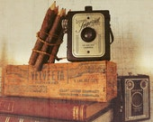 """Vintage Cameras - Herco Imperial and Brownie Antiques with Books and Colored Pencils, Photography 8x10"""" Fine Art Photo Print"""